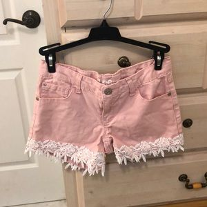 Laced pink jean shorts